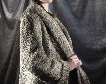 Luxurious 1940's grey Astrakhan broadtail Persian lamb fur swing jacket with a huge shawl collar