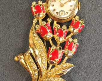 Ladies' Milos Retro Watch Brooch- as is.  Free shipping