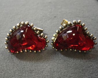 Big Weird Red Lucite Cufflinks, signed H Pomerantz. Free shipping
