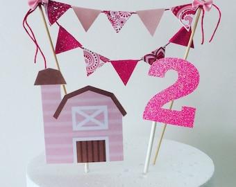 Barnyard caketopper, girl barnyard cake topper, pink barnyard cake topper, cowgirl cake topper
