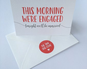 Wedding day note card. Greeting card for a bride or groom. Matching envelope seal sticker.