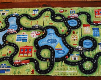Packable fabric + felt play mat for toy cars