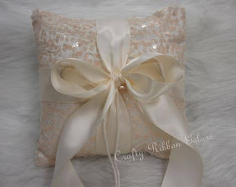 Large Ivory Sequins Wedding Ring Bearer Pillow, 8 x 8 Wedding ring pillow  READY TO SHIP