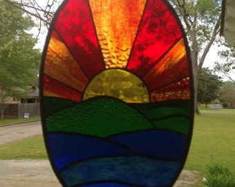 Sunset Stained Glass Window Panel Large Suncatcher apprx. 9 x 14