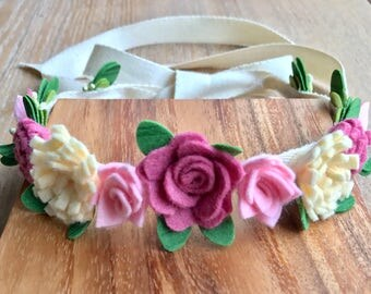 Flower crown, Felt Birthday crown, felt crown, flower girl, baby shower gift, wedding, gift, girl, princess, dress up, baby photo prop, felt