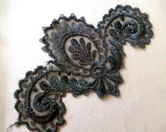 french application lace vintage aplicación encaje NEGRO de seda sobre tul aplicación encaje negro de seda sobre tul
