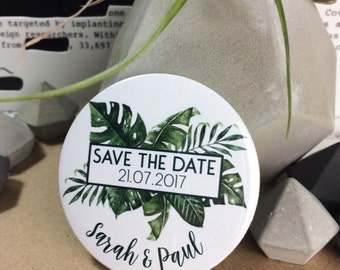 Wedding Save The Date Magnets - Tropical Palm Leaf Design Complete With Organza Bags (59mm)