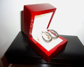 Beautiful Estate Sterling Silver Scallop Hoop Earrings
