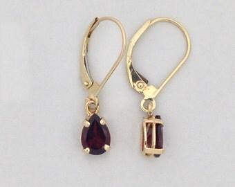 Natural Garnet Dangle Earrings Solid 14kt Yellow Gold