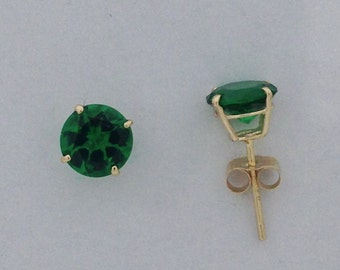 Created Emerald Stud Earrings Solid 10kt Yellow Gold