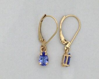 Natural Tanzanite Dangle Earrings Solid 14kt Yellow Gold