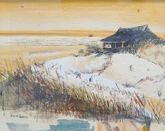 Framed & Matted Watercolor Beach Scene With House Dunes Marsh Sunset Sunrise - Signed