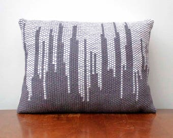 Gray and White Pillow, Modern Handwoven Pillow, 12x16, Cityscape Design, Hygge Style, Minimalist Decor, Throw Pillow, Neutral Colored Pillow