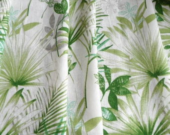 Kitchen Curtains Panels, White Green Cafe Curtains, Kitchen Valance, Linen Natural Valance, Green Palm Leaves Curtains, Window Valance