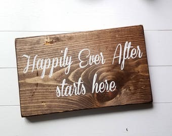 Happily Ever After Starts Here - Wedding Signs - Rustic Wedding Decor - Wedding Decor - Happily Ever After - Rustic Wedding Signs
