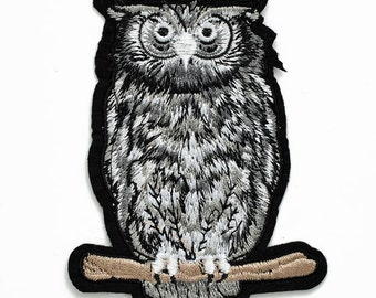 "Owl Embroidered Iron-On Patch, Embroidery Applique by pc, 4"" tall, TR-11351"