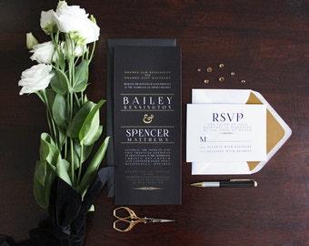 Elegant Art Deco Inspired Wedding Invitation suite. Black and Gold Wedding Invitations. Chic Wedding invitations. Sophisticated. Black White