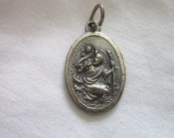 Antique Christian Catholic St Christopher's Medal Necklace Pendant