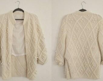Crochet Ball Cardigan (Medium). Crochet Cardigan. Open Cardigan. Lined Cardigan. Cardigan Sweater. Vintage Cardigan.