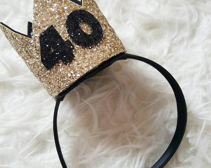 Black and Gold Glittery 40th Birthday Crown | 40th Birthday |Gold Birthday Crown | Adult Cake Smash | Photo Prop