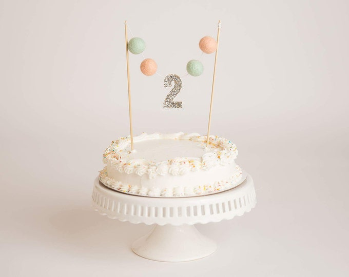 Pale Peach and Mint BIRTHDAY Banner | CAKE Banner