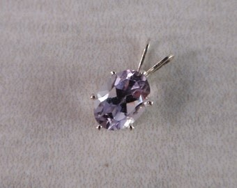Amethyst .9 ct  7x5 mm Oval Sterling Silver Necklace Pendant