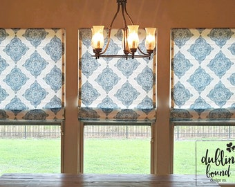 """Custom Made Flat Front Roman Shade Drapery - You Choose Home Decor Fabric and Lining - 35""""w and under"""