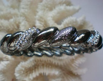 Black Metal Rhinestone Bangle Bracelet - 5242