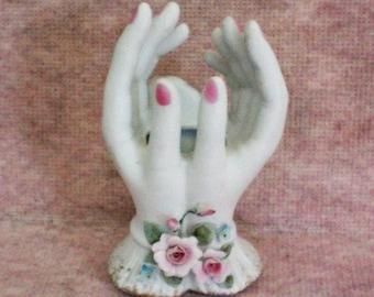 Hand Painted Lefton Ladies Hands Porcelain Bud Vase - 5323