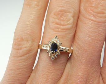 MIDNIGHT Marquise Sapphire Diamond Ring Blue Sapphire Ring Blue Sapphire Engagement Ring 14K Gold Ring Navy Blue Jewelry Color Engagement