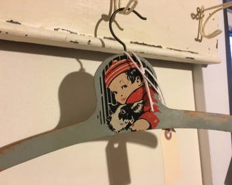 Vintage wooden Hanger, Child With Puppy, Very solid, Nice Condition, Some Chippy Paint