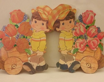 1970's Flocked EASTER Cut Outs Spring Wall Decor Tulips 2