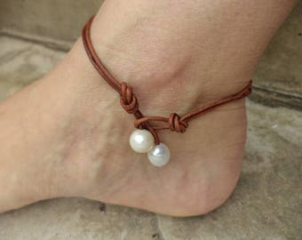 Pearl Anklet Pearl Jewelry Leather Anklet Pearl and Leather Anklet Cute Anklet Leather Jewelry Made in USA