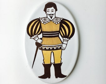 "Super rare vintage Arabia Finland ceramic ""knight"" door sign by Raija Uosikkinen , 1960s - Made in Finland"