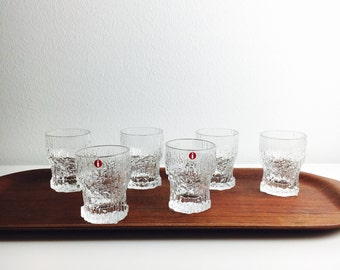 With original box - 6 vintage Iittala schnapps glass named 'Aslak' by Tapio Wirkkala, 1970s, Made in Finland