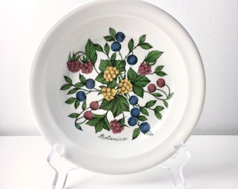 Mint / very rare vintage Arabia Finland deep Botanica Forte ceramic plate, Esteri Tomula, made in Finland in 1985
