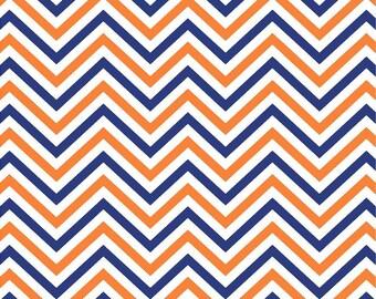 Navy, orange and white chevron craft  vinyl sheet - HTV or Adhesive Vinyl -  zig zag pattern HTV5008
