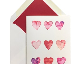 "Hearts Valentine's Day Cards, Box of 10 w/lined envelopes, Greeting Cards, watercolor, sweet, card stock, note cards,Original Art, 4"" X 5.5"""