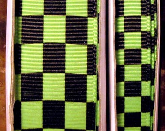 """2 Yards 3/8"""" or 7/8"""" US Designer New Apple Green - Lime and Black Checkered Flag - Checkerboard Print Grosgrain Ribbon"""