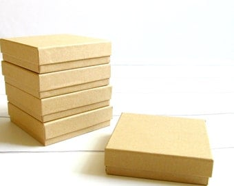 "100 - 3 1/2"" x 3 1/2"" x 1"" Brown Kraft Jewelry Boxes - kraft paper boxes for jewelry, Kraft Jewelry Boxes, Kraft Paper Boxes, paper gift box"