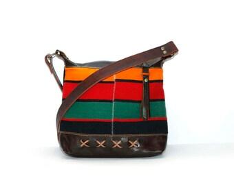Brown Leather Boho Bag - Boho Chic Leather Bag - Ethnic Leather Bag - Tribal Boho Bag - Boho Day Bag