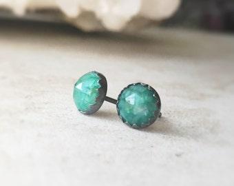 6 mm Emerald stud earrings - Emerald Studs - Oxidized Sterling Silver Serrated-Edge Bezel Cup - Emerald Stud Earrings - May Birthstone