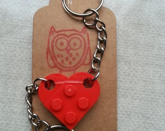 Love HEART Valentines Gift Split Keyrings, Made using LEGO(r) pieces