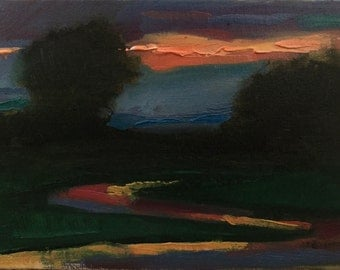 Evening light  | landscape Oil Painting | 5x7