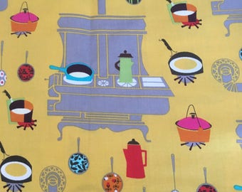 Newcastle Fabrics presents Happy Days Pattern #843 - Retro Kitchen Stove and Utensils - Cotton Fabric - 1/2 yd increments  Ask a question
