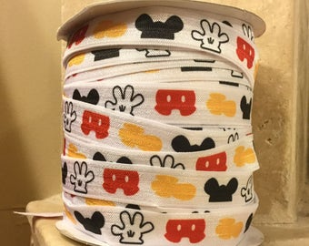 5 YDS Mickey Body Parts Elastic Ribbon FOE