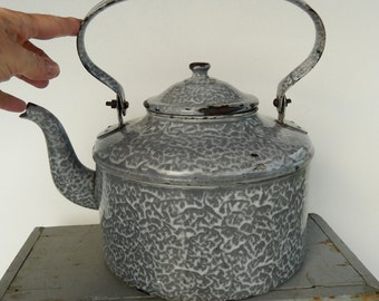 Extra Large Antique Gray Graniteware ~ Kettle With Lid