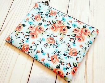 SALE! Peach Floral On Blue Medium Zipper Pouch