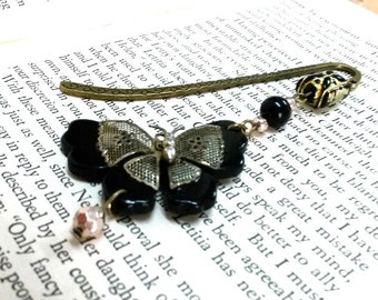Vintage Butterfly Bookmark, Black Bookmark, Bronze Bookmark, Metal Bookmark, Beaded Bookmark, Student Gift, Teachers Gift, Butterflies