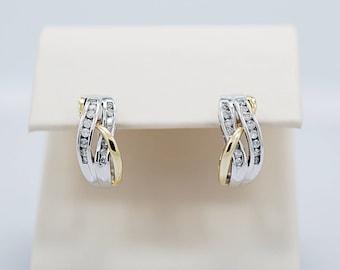 2-Tone Gold .33ct. T.W. Diamond Estate Earrings - J36407